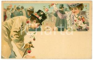 1900 ca LOVERS Sweethearts playing with flowers ILLUSTRATED Postcard FP NV (2)