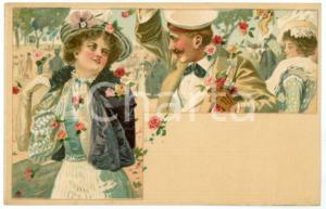 1900 ca LOVERS Sweethearts playing with flowers ILLUSTRATED Postcard FP NV (1)