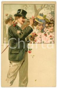 1900 ca LOVERS Sweethearts playing with flowers ILLUSTRATED Postcard FP NV (3)