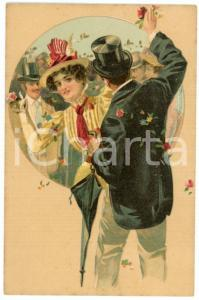 1900 ca LOVERS Sweethearts playing with flowers ILLUSTRATED Postcard FP NV (4)