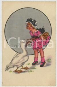1910 ca CHILDREN Girl hiding a pie from a pelican ILLUSTRATED Postcard FP NV