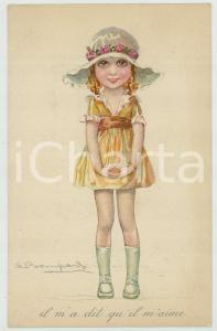 1910 ca CHILDREN Girl with hat - Il m'a dit qu'il m'aime ILLUSTRATED Postcard FP