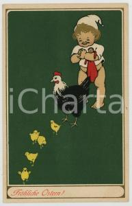 1900 ca FROHLICHE OSTERN - HAPPY EASTER Child with rooster and chicks - Postcard