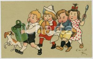 1906 CHILDREN playing fake musical instruments ILLUSTRATED Postcard FP VG