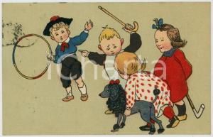 1905 ca CHILDREN playing with a dog ILLUSTRATED Postcard FP VG
