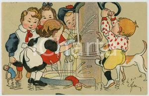 1906 CHILDREN playing with the fountain ILLUSTRATED Postcard FP VG