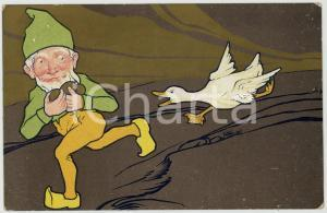 1920 ca HUMOUR Goose chasing gnome in mine ILLUSTRATED Postcard FP NV