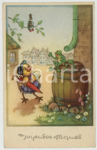 1954 JOYEUSES PÂQUES Frogs greeting lady duck with eggs - Vintage postcard