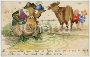 1905 ca ANIMALS Big frog drinking while cow and children laughing - Postcard