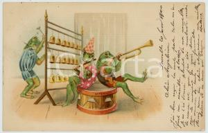 1900 ANIMALS Concert - Frogs band - Anthropomorphic old postcard