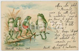 1904 ANIMALS Diving lesson in the pond - Frogs *Anthropomorphic vintage postcard
