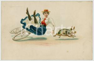 1900 ca HUMOUR Pig knocks a woman off her bicycle ILLUSTRATED postcard FP NV