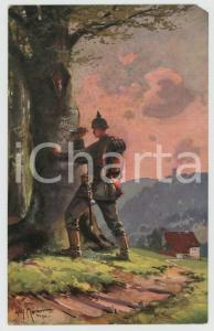 1915 ca WW1 Artist Willy MORALT Soldier carving hearts on a tree - Postcard