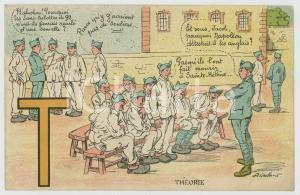1935 ALPHABET Letter T - Théorie - Soldiers ILLUSTRATED Postcard FP NV
