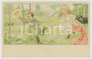 1900 ca CHILDREN - Catching butterflies - Old illustrated postcard