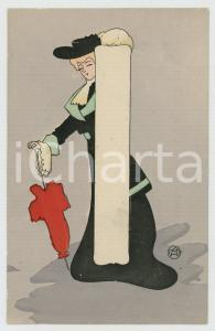 1910 ca FRANCE Woman with red parasol - GLAMOUR postcard
