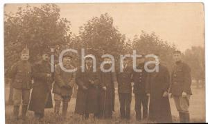 1917 WW1 GERMANY Group with soldiers, men and priests - RRPC Postcard Geprüft