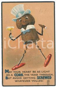1914 HUMOUR May your heart be as light as a cork the year through - Postcard