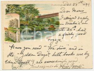 1899 SCARBOROUGH - UK The gardens and the castle - Postcard VG 11x9 cm