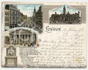 1898 LONDON Cheapside - Imperial Institute - Royal Exchange - Postcard 11x9 cm