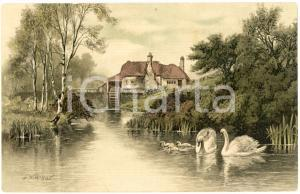 1900 ca Artist Frederick William HAYES Landscape with mill and swans - Postcard